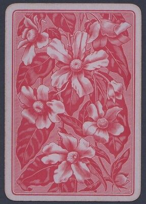 Playing Cards 1 Single Swap Card Antique English Wide - FLOWERS FLOWER on Purple