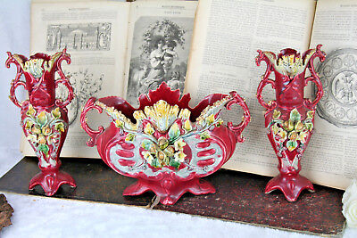 Antique French 1900 art nouveau Barbotine Majolica Vases Set center piece