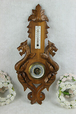 French wood carved Dragon chimaera animal figurines wall barometer