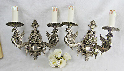PAIR French gothic castle Dragon Chimaera Wall lights sconces silver patina