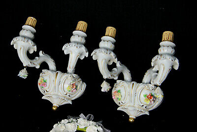 Vintage Italian capodimonte porcelain majolica relief flowers wall lights sconce