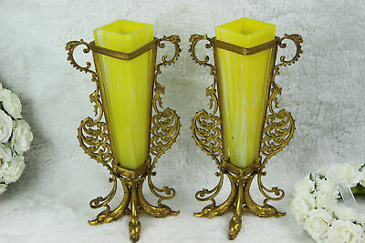 Pair Brass Dolphin yellow glass Vases urns 1970