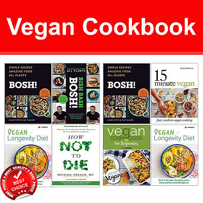 Vegan cookbook collection 4 books set BISH BASH BOSH!, How Not To Die, 15 Minute