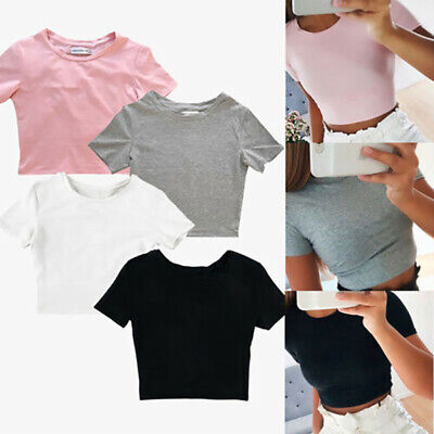 T-Shirt Femme Été Plage Petit Chemisier Tee Slim Fit Gym Sport Chemise Crop Top