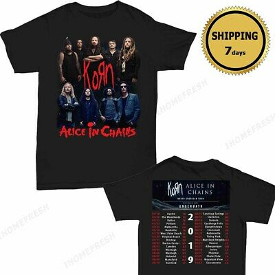 Korn and Alice In Chains North American Tour 2019 T-Shirt Size Men Black Shirt