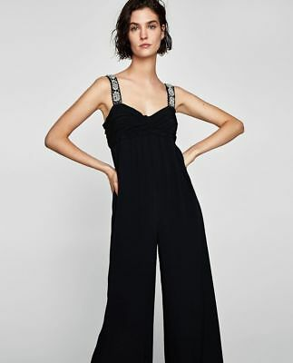15a7914b60c ZARA Flowing Long Jumpsuit with Beaded Sequin Pearl Straps Wide Leg UK S  Small