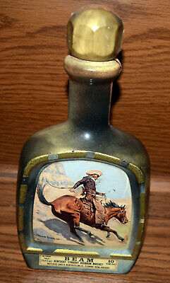 Vintage Jim Beam Decanter Bottle with Frederic Remington 1979 The Cowboy