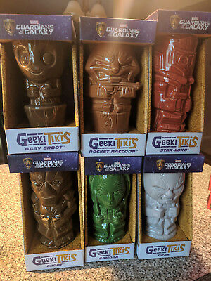 Marvel Guardians of the Galaxy Geeki Tiki set of six mugs Baby Groot Star-Lord