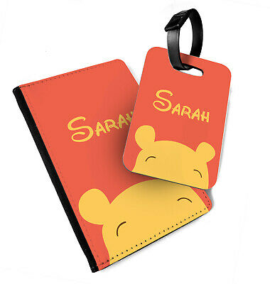 Personalised Winnie Face - Faux Leather Passport Cover & Tag - Minimal Custom