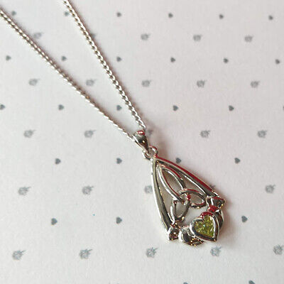 Celtic Trinity Silver Plated Claddagh Triquetra Green Crystal Pendant Necklace