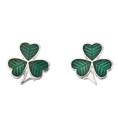 New Celtic Lands Silver Tone Green Enamel Irish Shamrock Stud Earrings