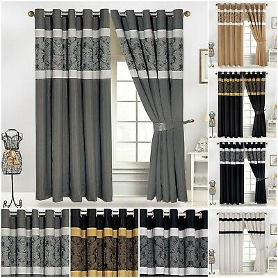 Luxury Jacquard Faux Silk Fully Lined Eyelet Ring Top Curtains Pair + Tie Backs