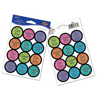 Alice in Wonderland Eat Me or Drink Me Circle Stickers 24Pack Party Decorations