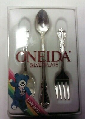Oneida Silverplate Chalice 3-Piece Baby Set Love Lasts