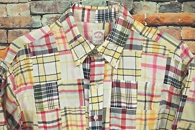 Mens BROOKS BROTHERS Short Sleeve Patchwork Shirt LARGE Multi Color Patch Plaid