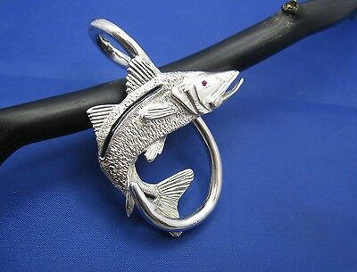 XXL Extra Large Sterling Silver New Men's Snook Fish Hook Beach Nautical Pendant