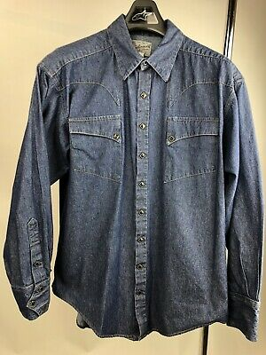 bf7ad7dafd1 Rockmount Tru-West Ranch Wear Denim Western Quarter Horse Shirt Men s Size  Large