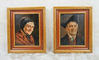 Pair Antique 19th Century German Oil Paintings Portrait Signed Listed Roessler