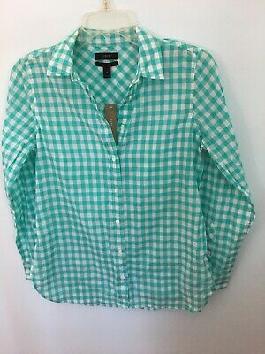 83aad47e91e J Crew Petite classic-fit boy shirt in crinkle gingham Blue White C7457 2P