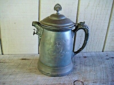 Vtg Victorian Era Quadruple Plate Water Pitcher ~ Etched & Ornate ~ Hinged Lid