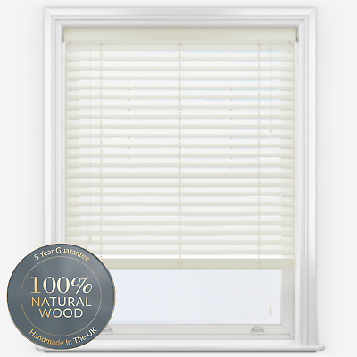 Made to Measure Real Wood Wooden Venetian Cream Blind with 27mm Slats