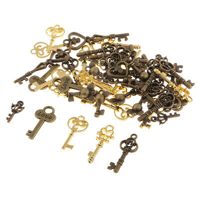50pc Assorted Antique Skeleton Key Charms Pendant Findings DIY Jewelry Craft