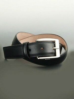 0c26343520a New Gucci Mens Black Leather Belt with Classic Square Buckle 336831 115 46
