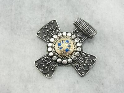 Ancient Style Cross with Antique Enamel and Gold Center
