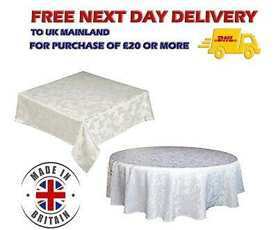 White JACQUARD Tablecloth Damask Runner Floral Print Dining Round Square Size UK