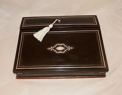 "French Antique Wooden Napoleon III Writing Box  ""Ecritoire"" Elegant Writer Gift"