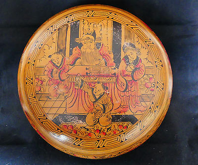 Antique Chinese Wooden Bride's Wedding Box. Family & Red Peonies! Late Qing Dyn.