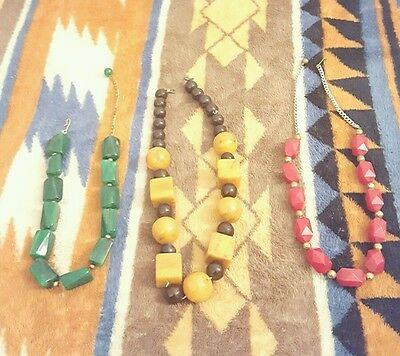 Vintage Lot 1930s Bakelite Necklaces Red Amber Green w/ Gold & Caramel w/ Brown