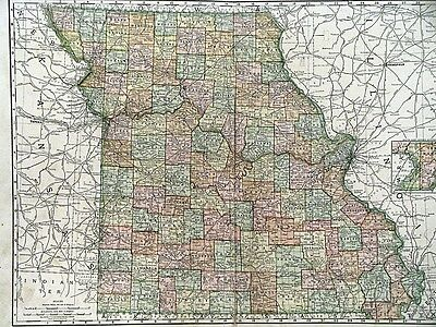 1895 Map of Missouri Rand McNally & Co Color Litho Engraving Large Doublepage