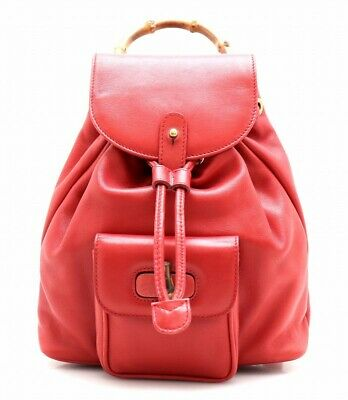 272db0ce148 GUCCI RED LEATHER Bamboo Backpack -  1