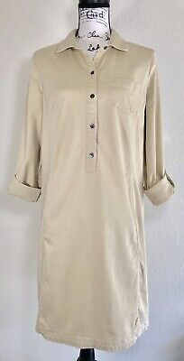 251c15a9f30 J Jill Live In Chino Shirt Dress 10 Khaki Beige Roll Tab Sleeves Stretch  Casual