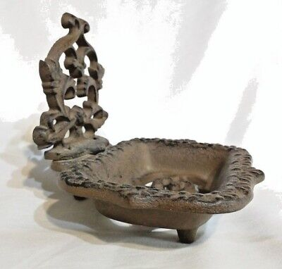 Footed Cast Iron Soap Dish /door stopper Rustic Brown Antique Repro Bath Decor