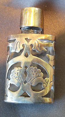 Vintage MINIATURE STERLING OVERLAY PERFUME BOTTLE Mexico 1950 Signed MINT