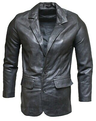 Men's Black Genuine Leather Blazer Soft Italian Tailored Vintage Jacket Coat
