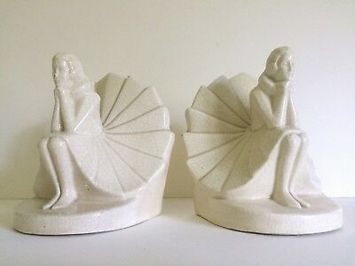 Art Deco Rare Figural Seated Woman German Craquelure Porcelain Bookends A Pair