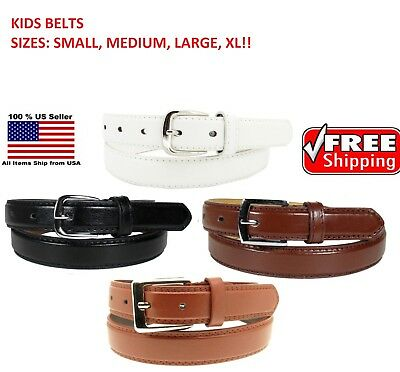 KIDS CHILDREN STITCHED LEATHER BELT Silver Belt Buckle Boys Sizes S - XL