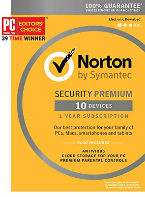 Norton Security Premium – 10 Devices – 1 Year Subscription - Product Key Card -