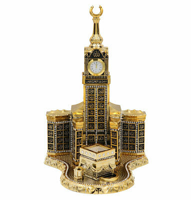 Islamic Turkish Table Decor 99 Names of Allah Kaba Clock Tower Replica Gold