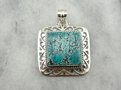 Fine Robin's Egg Turquoise with Spiderweb Matrix Pendant in Sterling Silver