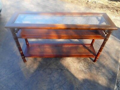 Vintage MERSMAN MCM 3-Tier Faux Bamboo Asian Oriental Style Console Sofa Table