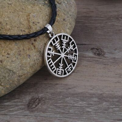 Vegvisir Hollowed Compass Odin Symbol Runic Rope Chain Talisman Nordic Amulet