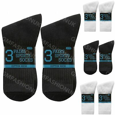 Kids Boys Girls Plain White Black Cotton Rich Performance School Pe Sport Socks