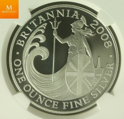 2008 Great Britain Britannia £2 Two Pound Silver Proof 1oz Coin NGC PF70 UCAM