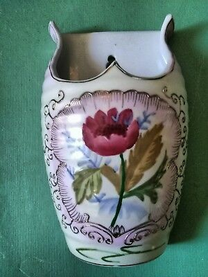 Beautiful Large Hand Painted Ceramic Floral Wall Pocket
