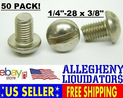 """50 PACK! 1/4""""-28 x 3/8"""" Stainless Steel Slotted Round Pan Head Machine Screw NH"""