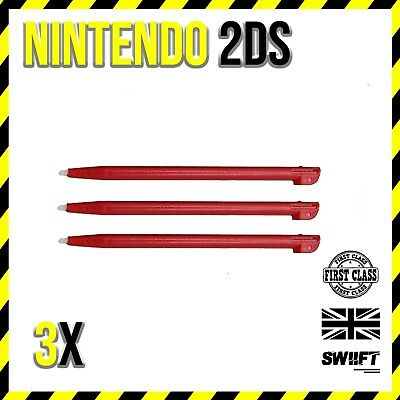 3x Red Plastic Stylus Touch Pens for Nintendo 2DS